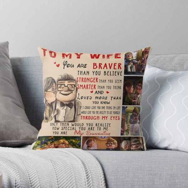 Carl & Ellie To My Wife You're Braver Than You Believe Quilt Blanket Fleece Blanket To My Wife Blanket Warmer Gift Gift For Her Throw Pillow