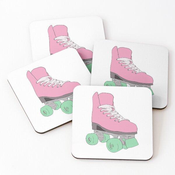 Pink Retro Vintage Roller Skate Coasters (Set of 4)