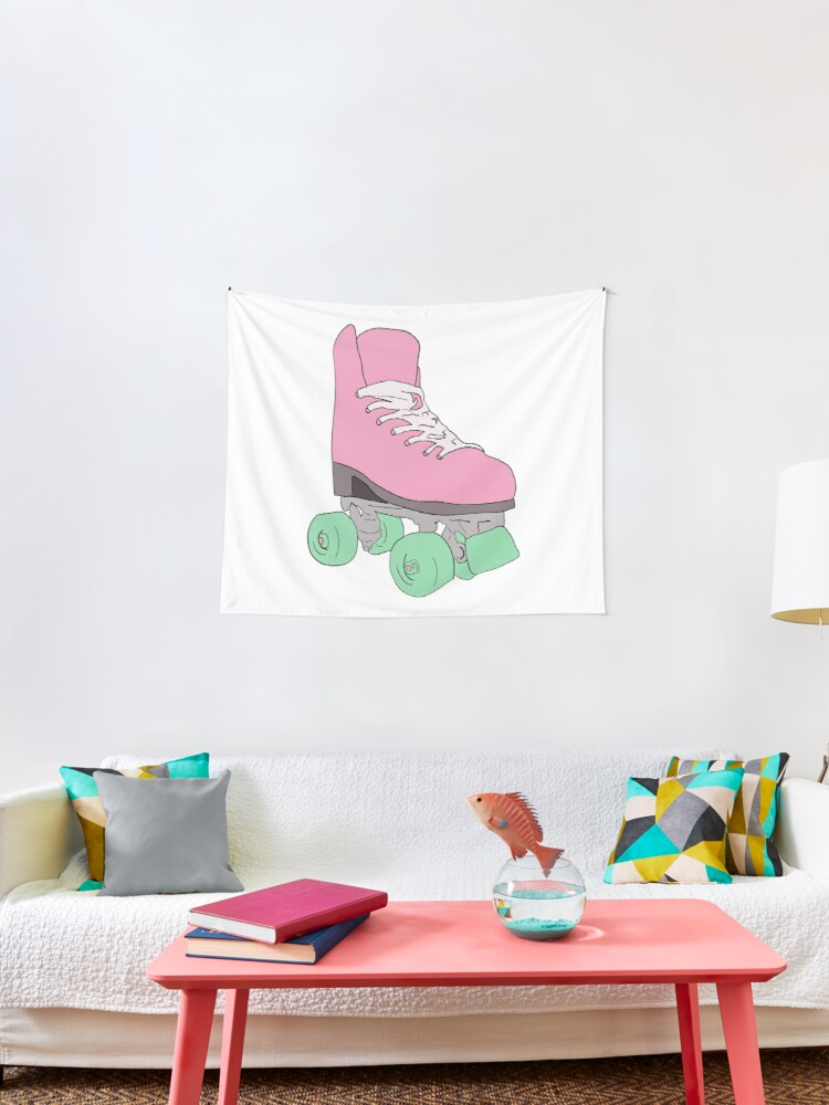 Pink Retro Vintage Roller Skate Tapestry By Piscesvibes Redbubble