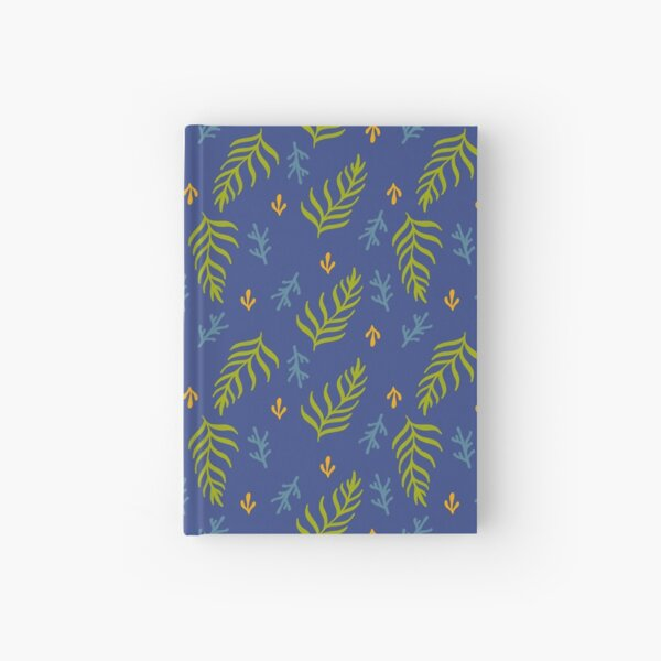 Navy and Green Seagrass Pattern Hardcover Journal