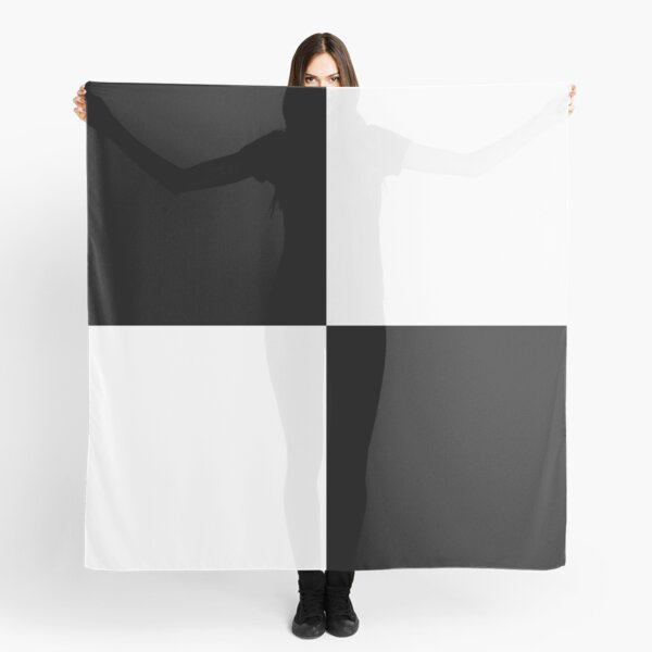 Black and White Quad Contrast Blocks Scarf