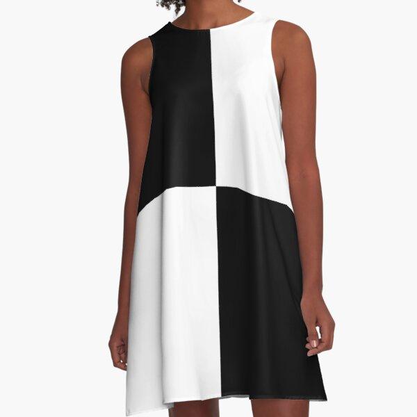 Black and White Quad Contrast Blocks A-Line Dress