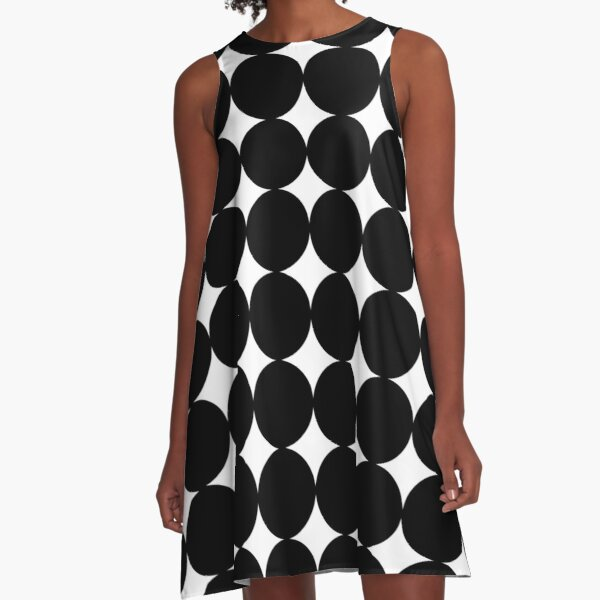Retro 1960's Mod Contrast Circles A-Line Dress