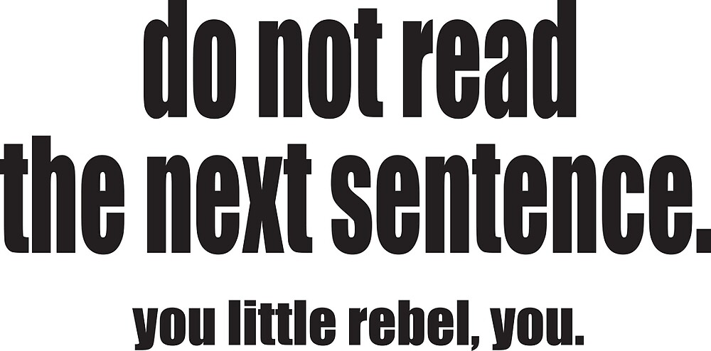 do not read the next sentence by xo xo