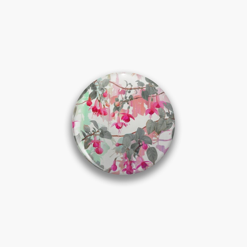 Rainbow Fuchsia Floral Pattern - with grey Pin