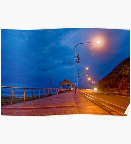 Kirra waterfront on stormy evening Poster