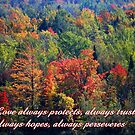 Love always protects, always trusts, always hopes, always perseveres by hummingbirds