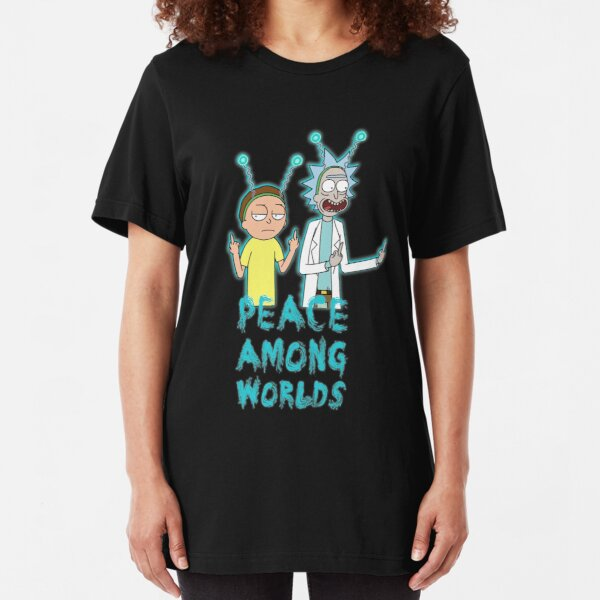 Rick and Morty Peace Among Worlds Slim Fit T-Shirt