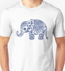 Blue Floral Elephant Illustration T-Shirt