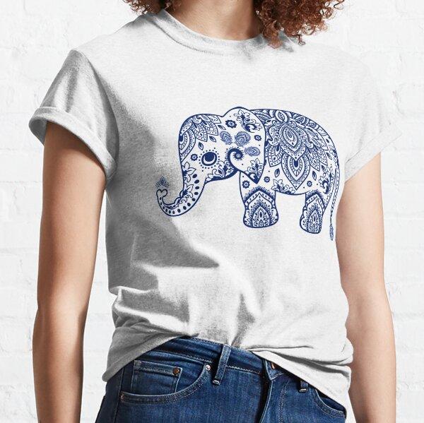 Blue Floral Elephant Illustration Classic T-Shirt