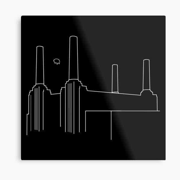 Pink Floyd Animals Minimalistic White on Black Metal Print