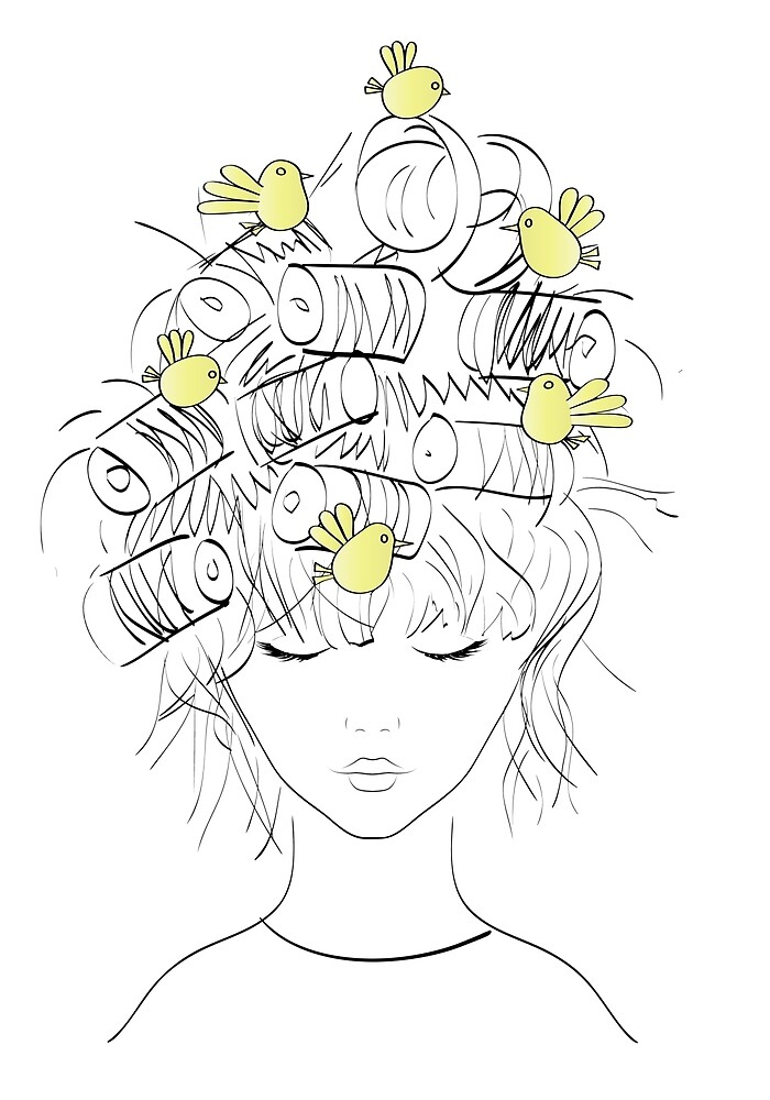 Girl with birds and curlers in hair by mosfunky