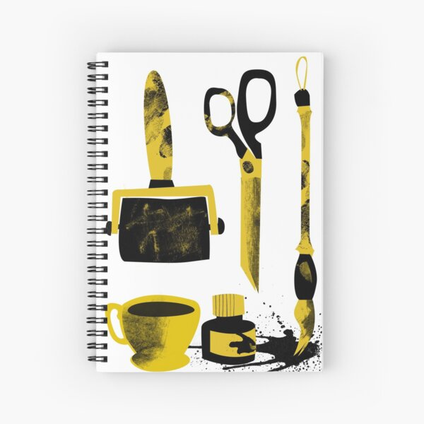 Tools Of My Trade, yellow and black coffee, brush, ink, roller, scissors Spiral Notebook