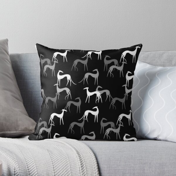 Sighthounds in black Throw Pillow