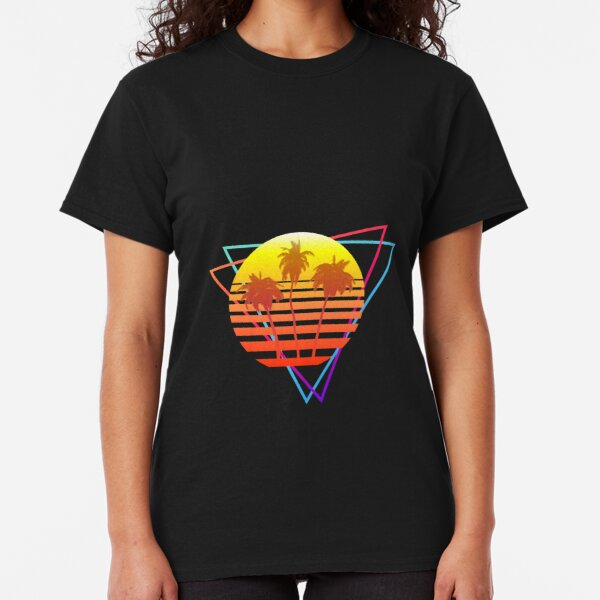 Synthwave Sun (with palm trees and triangles) Classic T-Shirt