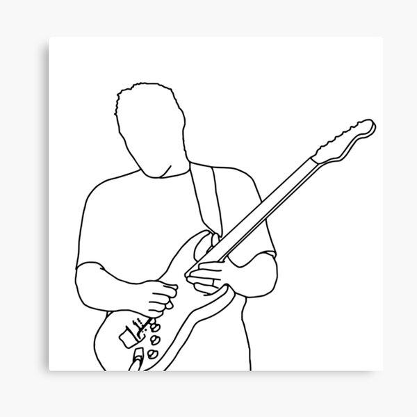 David Gilmour Minimalistic Design Black on White Canvas Print