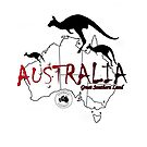 Australia outline and kangaroos silhouette by Craig Stronner
