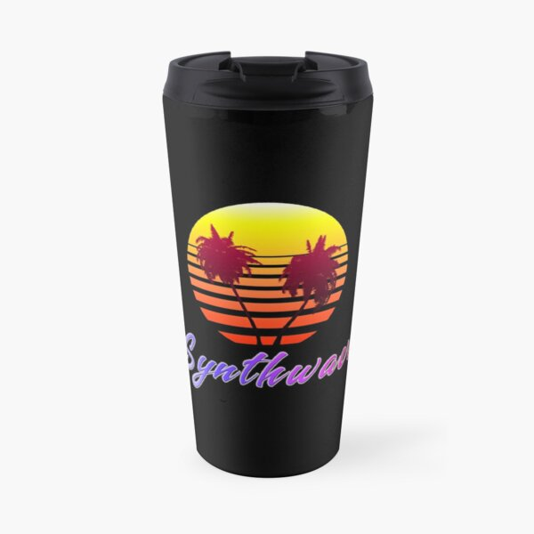 Synthwave Sun (with palm trees) Travel Mug