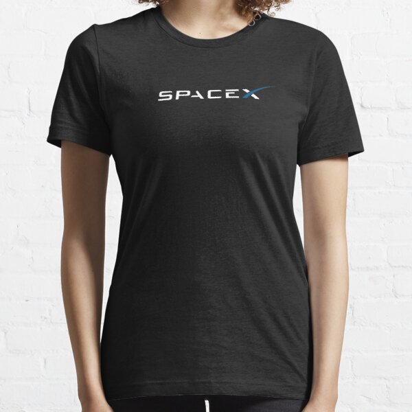 SpaceX Logo White Blue on Black Essential T-Shirt