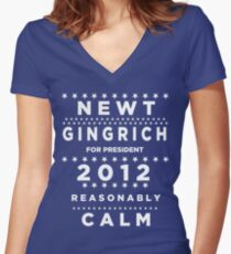 Newt Gingrich - Reasonably Calm Women's Fitted V-Neck T-Shirt