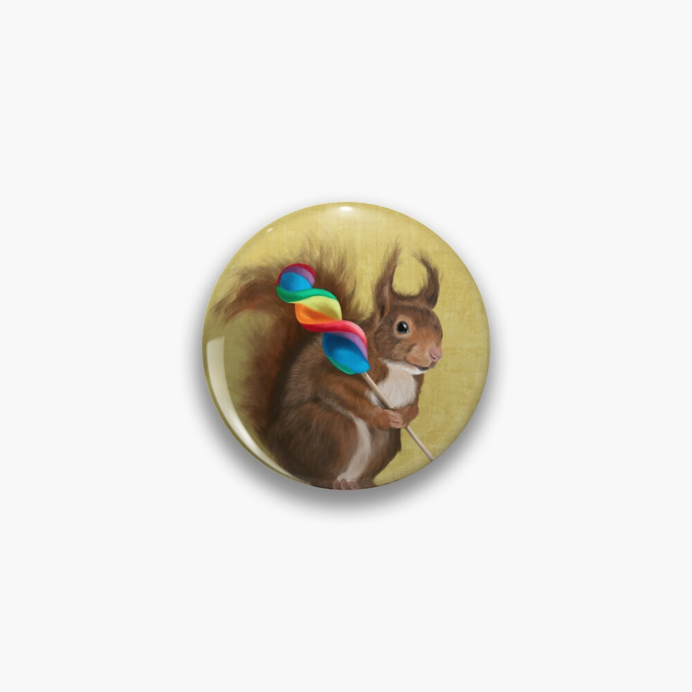 Squirrel with lollipop Pin