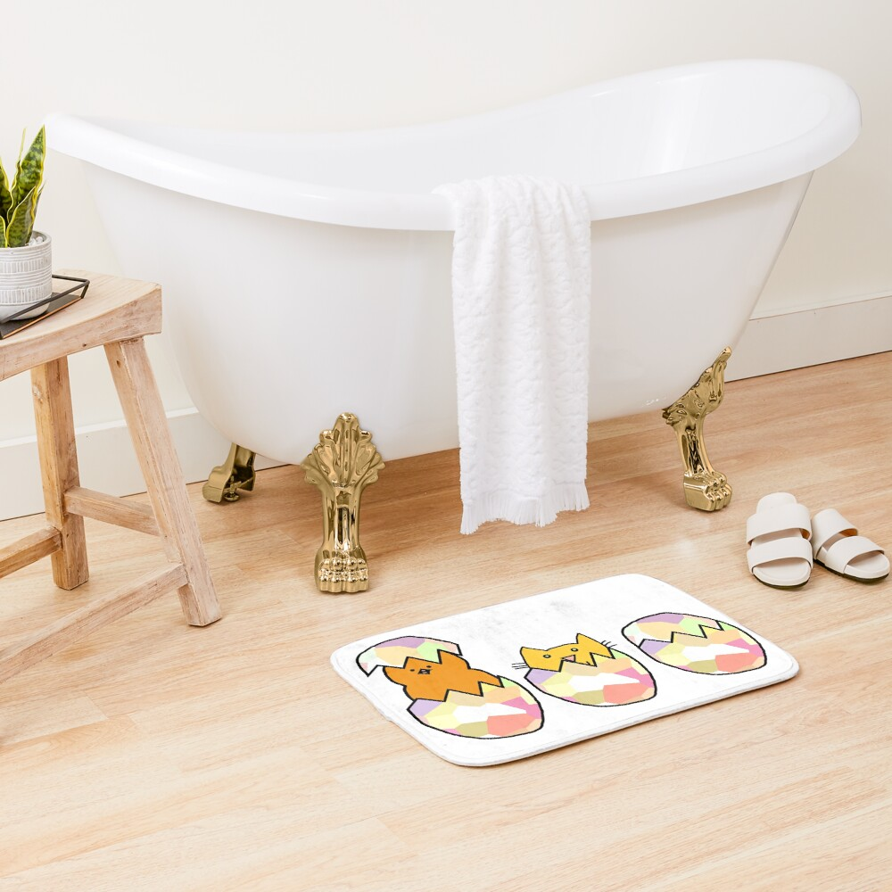 Easter Eggs - Cat among the Chickens Bath Mat
