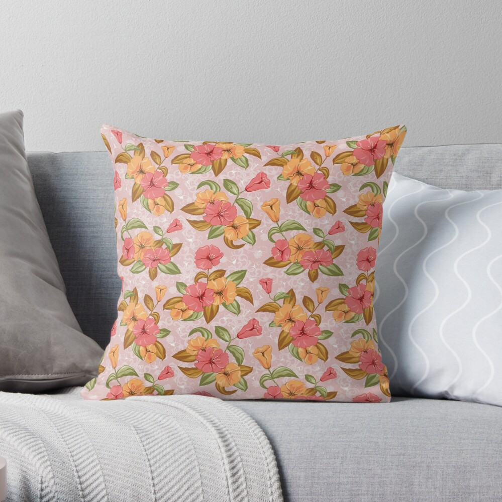 Floral decorations for beautiful products Throw Pillow
