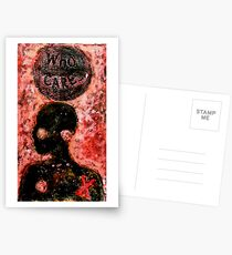 Who Cares (Collagraph Print) Postcards