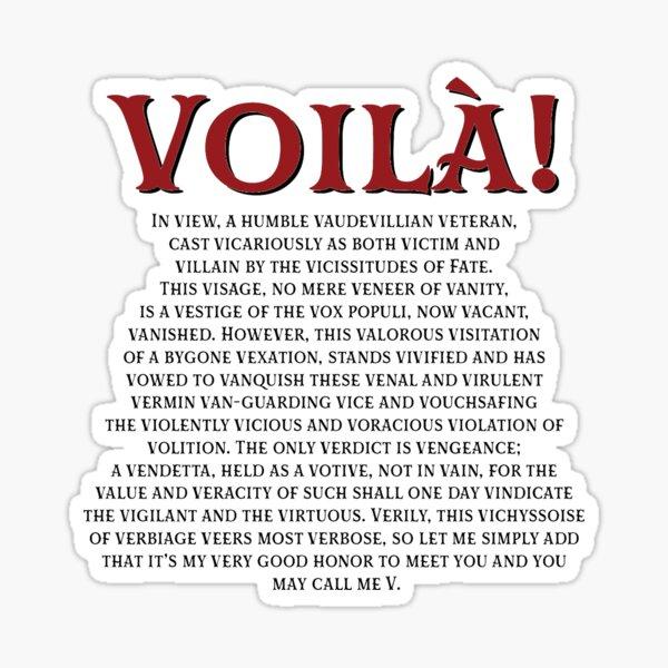 V For Vendetta Monologue  Sticker