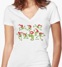 Christmas Frogs jumping, dancing and celebrating! Women's Fitted V-Neck T-Shirt