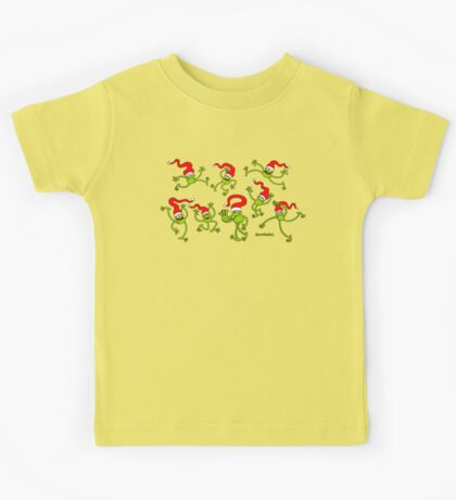 Christmas Frogs jumping, dancing and celebrating! Kids Clothes
