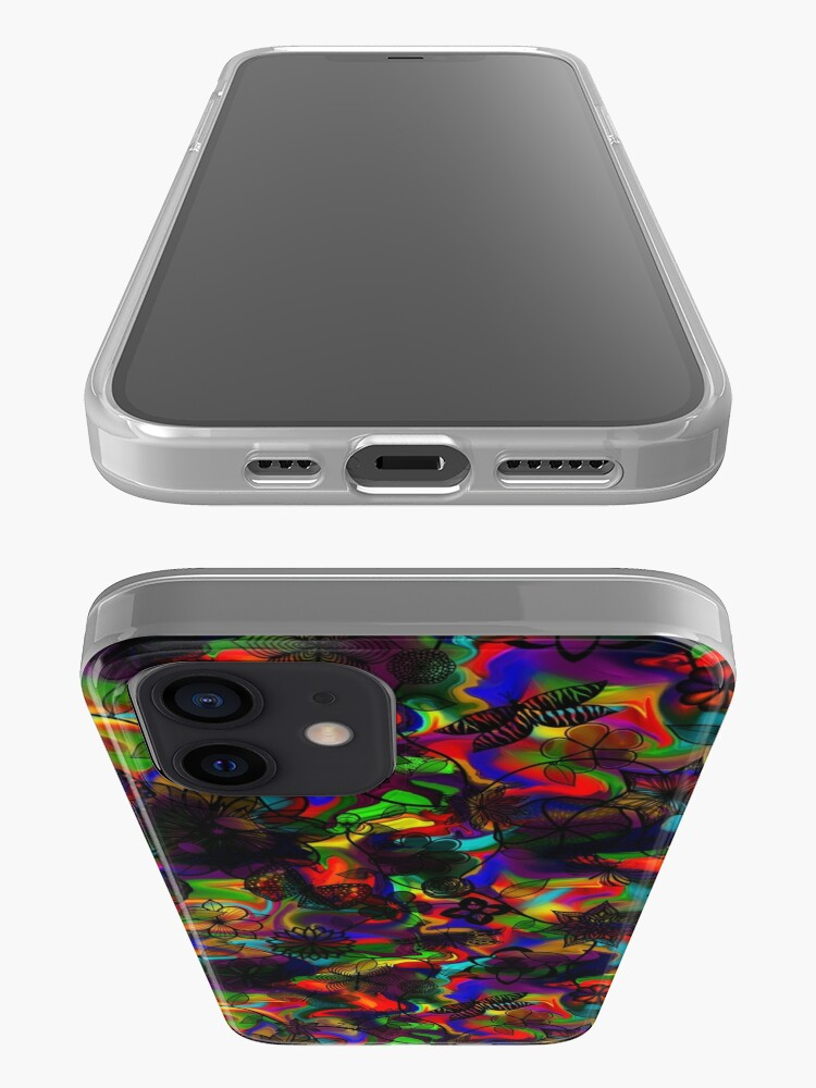 Alternate view of Butterfly Garden - Black on Rainbow iPhone Case & Cover