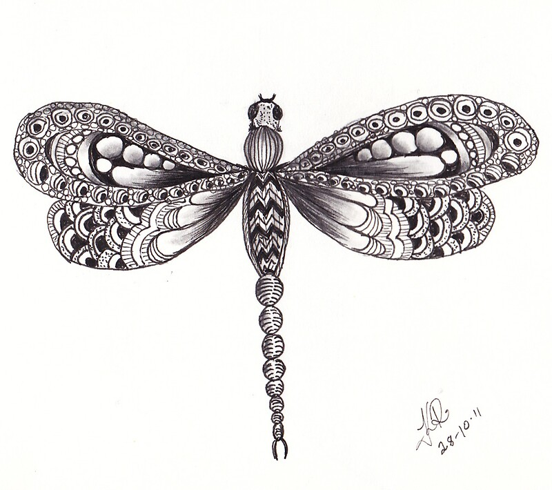 Quot Zentangle Dragonfly Quot By Kerryn Rowe Redbubble