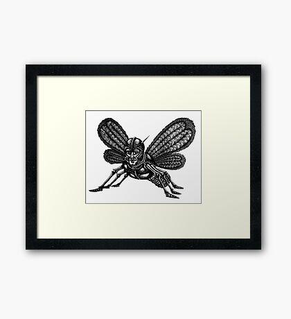 Mothman surreal black and white pen ink drawing Framed Print