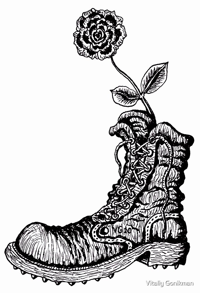 Boot with Flower black and white pen ink drawing by Vitaliy Gonikman