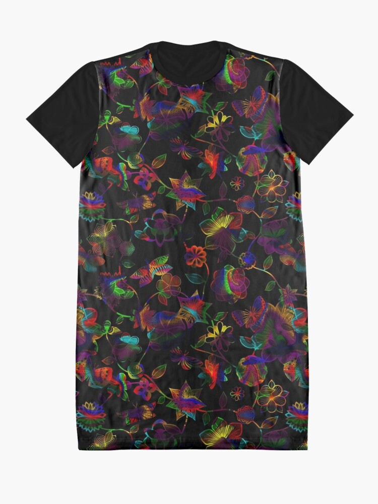 Alternate view of Butterfly Garden - Rainbow on Black Graphic T-Shirt Dress