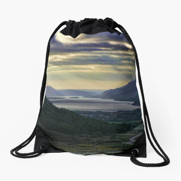Looking West-To Loch Maree in the Highlands of Scotland(2) Drawstring Bag