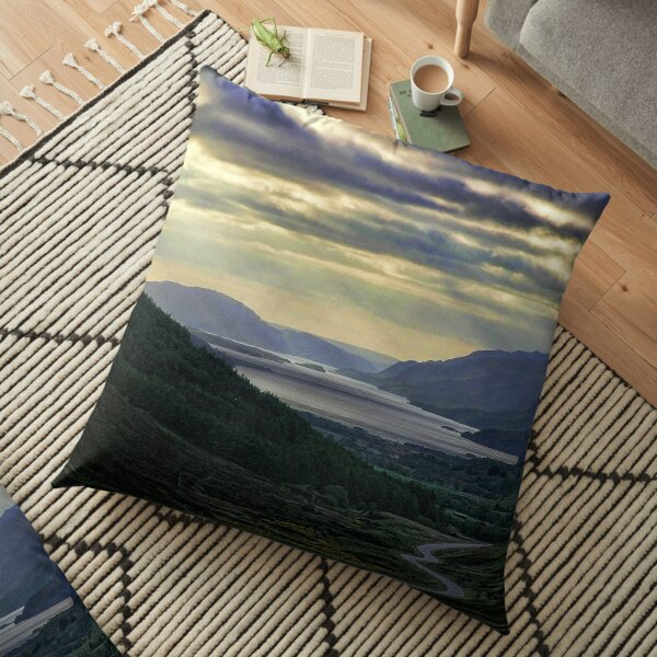 Looking West-To Loch Maree in the Highlands of Scotland(2) Floor Pillow