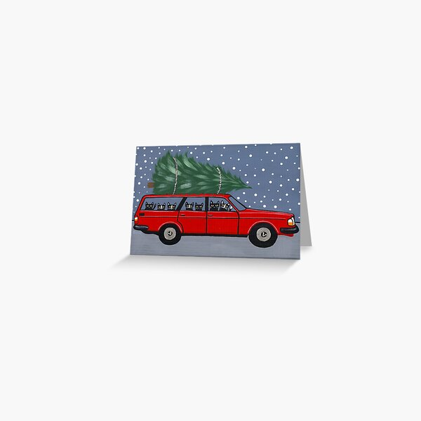 Volvo Cats Christmas Tree Greeting Card