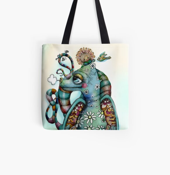Misty the Friendly Rainbow Dragon All Over Print Tote Bag