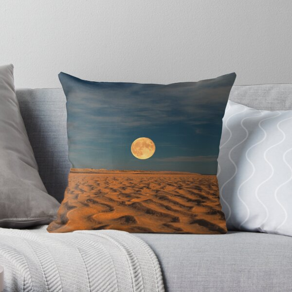Moon across the Sands Throw Pillow