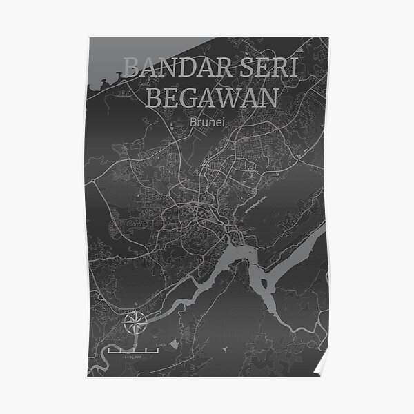 Bandar Seri Begawan Brunei Stadtplan Poster