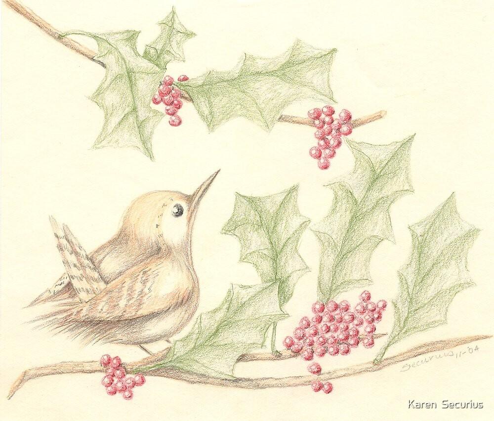 Bird & Holly by Karen  Securius