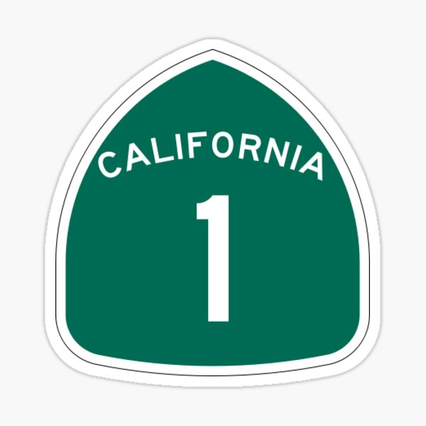 California 1 Highway Sticker