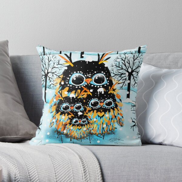 snow owls Throw Pillow
