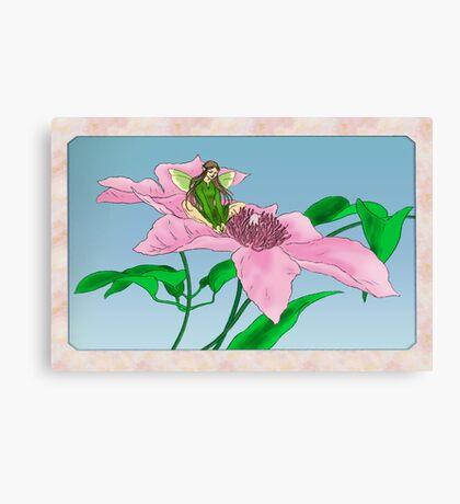Fairy tending flowers Canvas Print