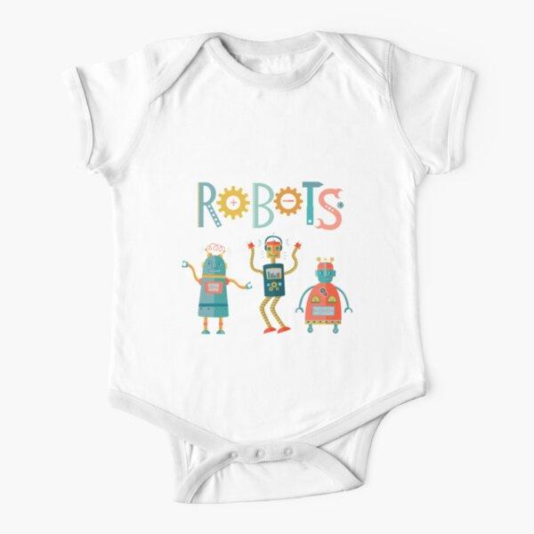 Cute Robots Having Fun Short Sleeve Baby One-Piece