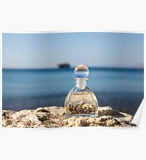 A bottle with seashells on the beach selective focus on the foreground  Poster