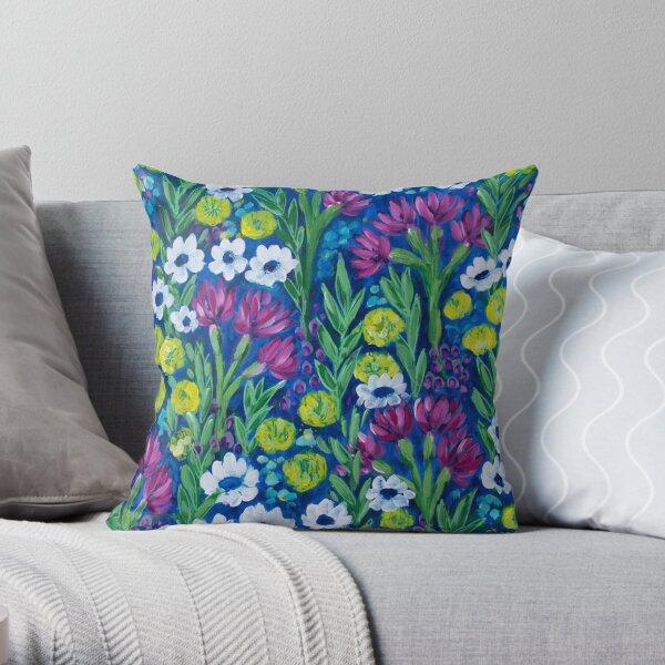Growing Wilder - Wildflower Painting Throw Pillow