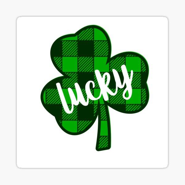 St Patricks Day Lucky Buffalo Plaid Clover Sticker